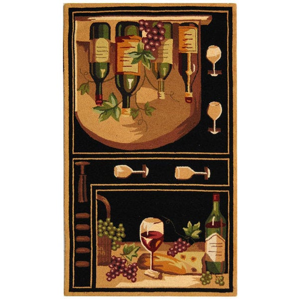 Safavieh Hand-hooked Winery Black/ Multi Wool Runner (2'6 x 4')