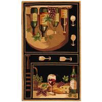 Safavieh Hand-hooked Winery Black/ Multi Wool Rug - 2'9' x 4'9'