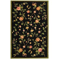 Safavieh Hand-hooked Garden Black Wool Rug (5'3 x 8'3)