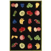 Safavieh Hand-hooked Fruits Black Wool Rug - 7'9 x 9'9