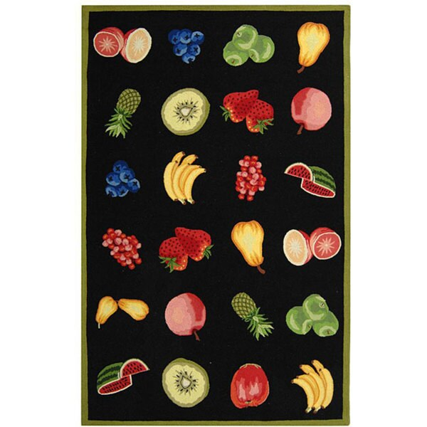 Safavieh Hand-hooked Fruits Black Wool Rug (7'9 x 9'9)