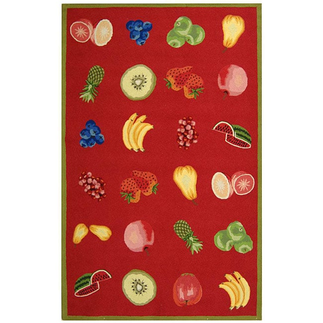 Safavieh Hand-hooked Fruits Red Wool Rug - 8'9 X 11'9