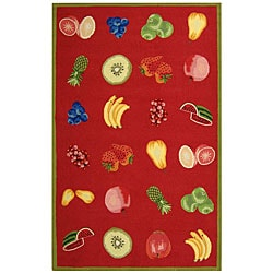 Safavieh Hand-hooked Fruits Red Wool Rug - 8'9 X 11'9 - Thumbnail 0