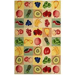 Safavieh Hand-hooked Fruit Panels Ivory Wool Rug (3'9 x 5'9)