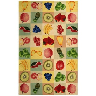 Safavieh Hand-hooked Fruit Panels Ivory Wool Rug (3'9 x 5'9)