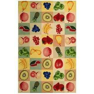 Safavieh Hand-hooked Fruit Panels Ivory Wool Rug (5'3 x 8'3)