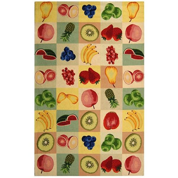 Safavieh Hand-hooked Fruit Panels Ivory Wool Rug - 7'9 x 9'9