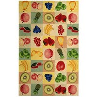 "Safavieh Hand-hooked Fruit Panels Ivory Wool Rug - 8'9"" x 11'9"""