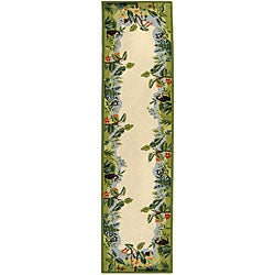 Safavieh Hand-hooked Safari Beige/ Green Wool Runner (2'6 x 10')