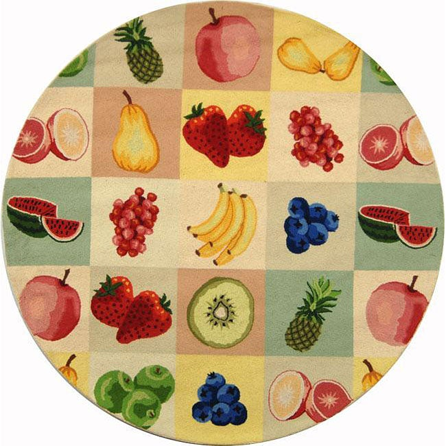 Safavieh hand hooked fruit panels ivory wool rug 3 39 round free shipping on orders over 45 for Kitchen rugs with fruit design