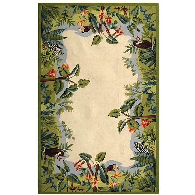 Safavieh Hand-hooked Safari Beige/ Green Wool Rug - 3'9' x 5'9'