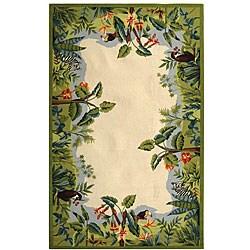 Safavieh Hand-hooked Safari Beige/ Green Wool Rug - 3'9' x 5'9' - Thumbnail 0