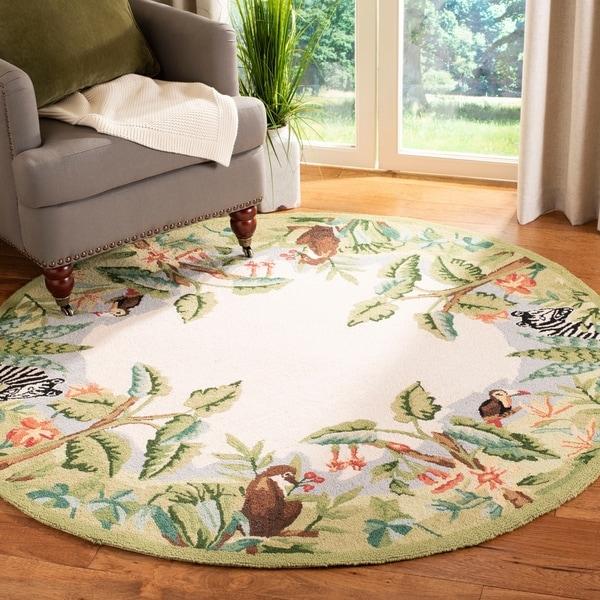 "Safavieh Hand-hooked Safari Beige/ Green Wool Rug - 5'6"" x 5'6"" round"