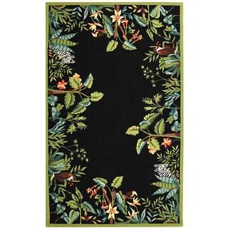 Safavieh Hand-hooked Safari Black/ Green Wool Rug (7'9 x 9'9)