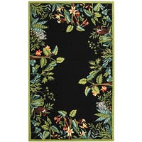 Safavieh Hand-hooked Safari Black/ Green Wool Rug - 7'9 x 9'9