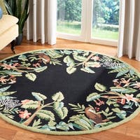 """Safavieh Hand-hooked Safari Black/ Green Wool Rug - 5'6"""" x 5'6"""" round"""