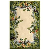 Safavieh Hand-hooked Safari Beige/ Green Wool Rug - 8'9 X 11'9