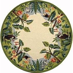 Safavieh Hand-hooked Safari Beige/ Green Wool Rug (8' Round)