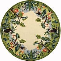 Safavieh Hand-hooked Safari Beige/ Green Wool Rug - 8' x 8'