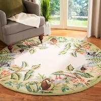 Safavieh Hand-hooked Safari Beige/ Green Wool Rug - 8' x 8' Round