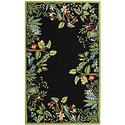 Safavieh Hand-hooked Safari Black/ Green Wool Rug (5'3 x 8'3)