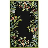 "Safavieh Hand-hooked Safari Black/ Green Wool Rug (5'3 x 8'3) - 5'3"" x 8'3"""