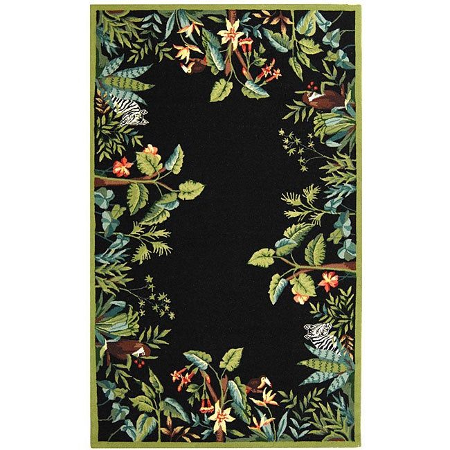 Safavieh Hand-hooked Safari Black/ Green Wool Rug (6' x 9')