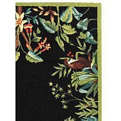 Safavieh Hand-hooked Safari Black/ Green Wool Rug (6' x 9') - Thumbnail 1