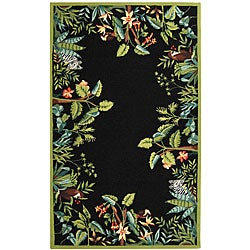 Safavieh Hand-hooked Safari Black/ Green Wool Rug - 6' x 9' - Thumbnail 0