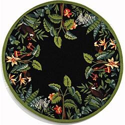 Safavieh Hand-hooked Safari Black/ Green Wool Rug (3' Round)