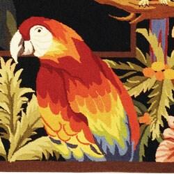 Safavieh Hand-hooked Parrots Black Wool Rug (2'9 x 4'9) - Thumbnail 1