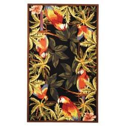 "Safavieh Hand-hooked Parrots Black Wool Rug - 5'3"" x 8'3"" - Thumbnail 0"
