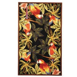 Safavieh Hand-hooked Parrots Black Wool Rug - 6' x 9' - Thumbnail 0