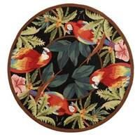 Safavieh Hand-hooked Parrots Black Wool Rug - 3' x 3' round