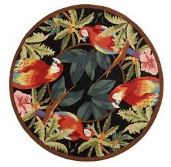 Safavieh Hand-hooked Parrots Black Wool Rug (3' Round)