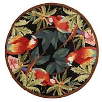 "Safavieh Hand-hooked Parrots Black Wool Rug - 5'6"" x 5'6"" Round"