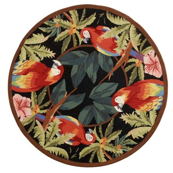 "Safavieh Hand-hooked Parrots Black Wool Rug - 5'6"" x 5'6"" Round"