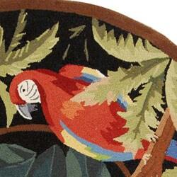 Safavieh Hand-hooked Parrots Black Wool Rug (8' Round) - Thumbnail 1