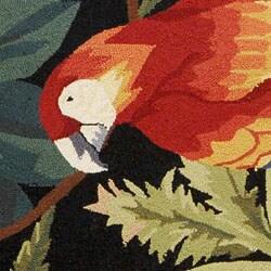 Safavieh Hand-hooked Parrots Black Wool Rug (8' Round) - Thumbnail 2