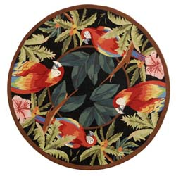 Safavieh Hand-hooked Parrots Black Wool Rug (4' Round)
