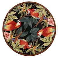 Safavieh Hand-hooked Parrots Black Wool Rug - 4' x 4' Round