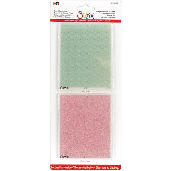 Sizzix Textured Impressions Dots-n-Flowers Embossed Folders (2-pack)