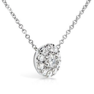 Annello by Kobelli 14k White Gold 1/3ct TDW Round Diamond Halo Necklace