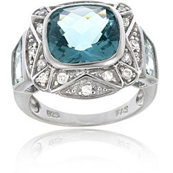 Icz Stonez Sterling Silver Caribbean Mist and Cubic Zirconia Square Ring (4 options available)