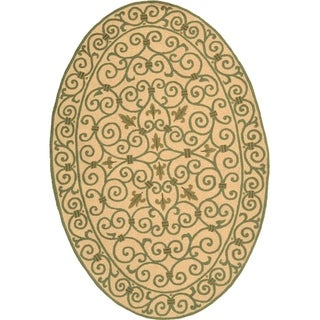 Safavieh Hand-hooked Yellow/ Light Green Wool Rug (4'6 x 6'6 Oval)