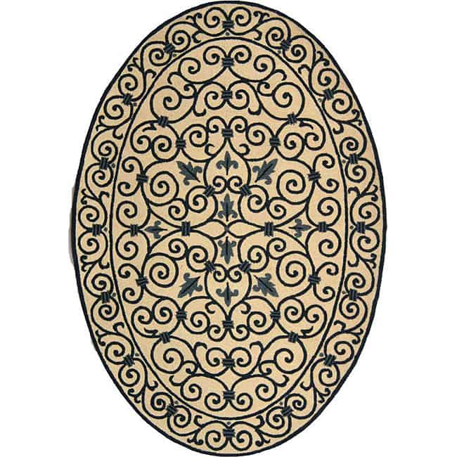 Safavieh Hand-hooked Iron Gate Ivory/ Navy Blue Wool Rug (4'6 x 6'6 Oval)