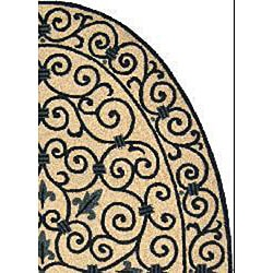 Safavieh Hand-hooked Iron Gate Ivory/ Navy Blue Wool Rug (4'6 x 6'6 Oval) - Thumbnail 1