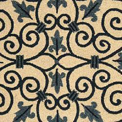 Safavieh Hand-hooked Iron Gate Ivory/ Navy Blue Wool Rug (4'6 x 6'6 Oval) - Thumbnail 2