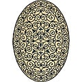 Safavieh Hand-hooked Iron Gate Ivory/ Navy Blue Wool Rug (4'6 x 6'6 Oval) - 4'6 x 6'6
