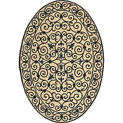 Safavieh Hand-hooked Iron Gate Ivory/ Navy Blue Wool Rug (7'6 x 9'6 Oval)